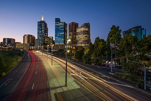Light trails of traffic with illuminated skyscrapers of Melbourne