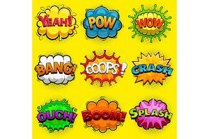Multicolored comic speech bubbles