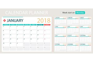 English calendar planner for year 2018, week start Monday. Set of 12 months, corporate design planner template, size A4 printable calendar templates.