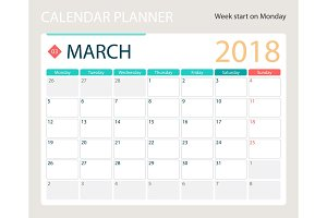 MARCH 2018, illustration vector calendar or desk planner, weeks start on Monday
