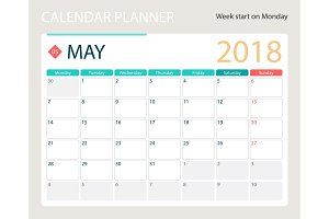 MAY 2018, illustration vector calendar or desk planner, weeks start on Monday