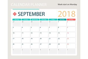 SEPTEMBER 2018, illustration vector calendar or desk planner, weeks start on Monday