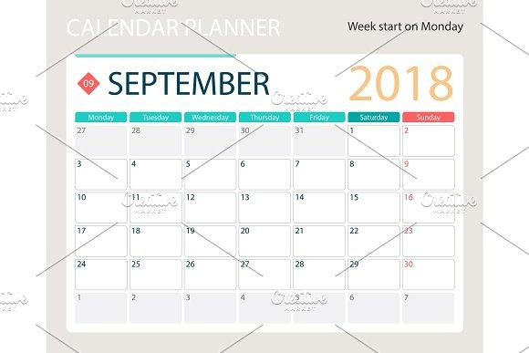 SEPTEMBER 2018 Illustration Vector Calendar Or Desk Planner Weeks Start On Monday