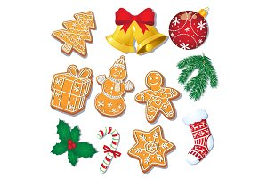 Set of Christmas gingerbread cookies, decorations