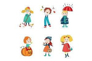 Cartoon kids enjoy fall, autumn activities