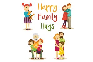 Happy family members hugging, cartoon vector set