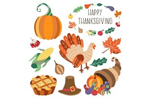 Vector set of flat thanksgiving symbols isolated