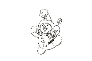 Happy cute cartoon snowman
