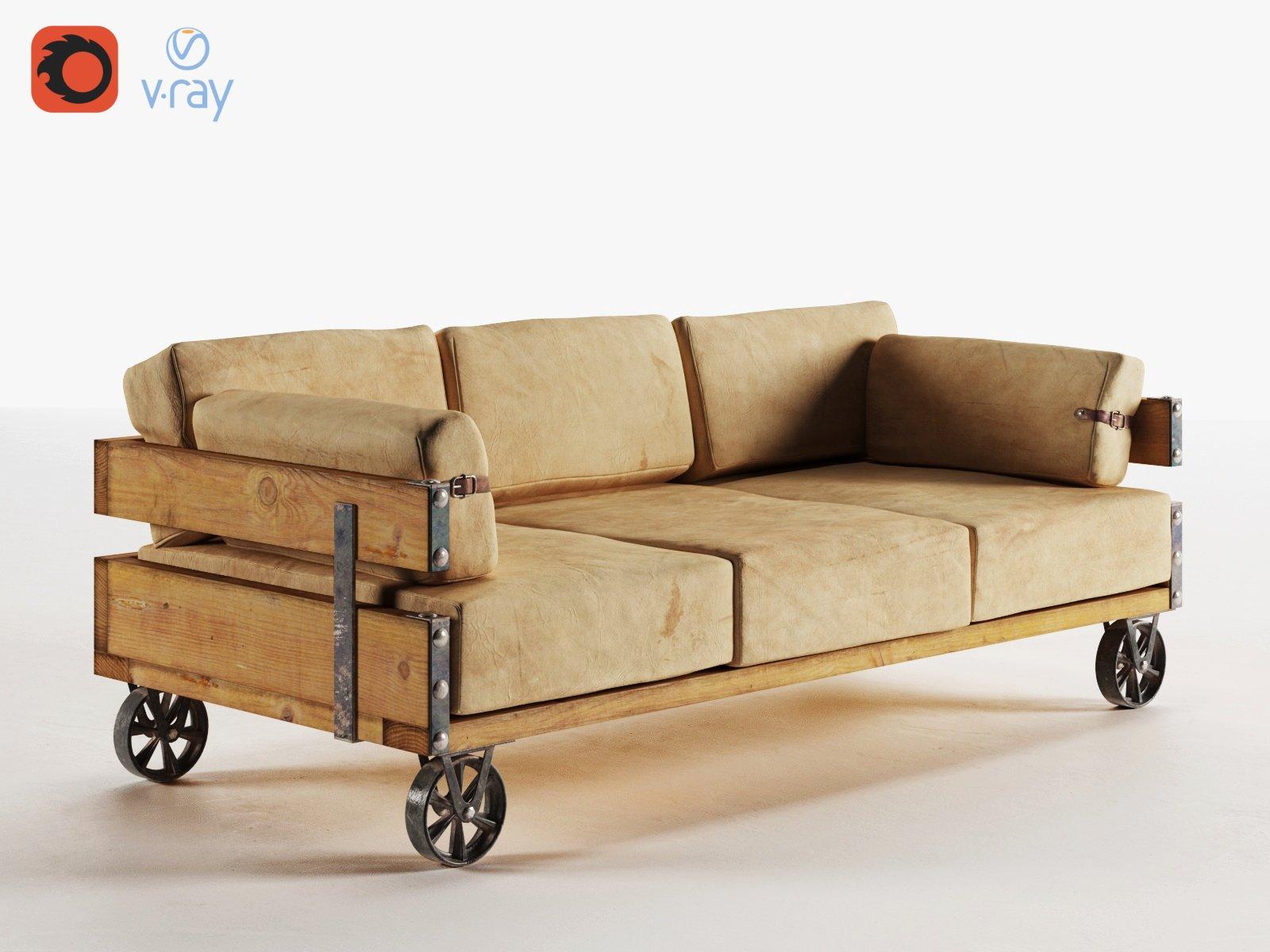 industrial sofa v ray corona 3d furniture models creative market. Black Bedroom Furniture Sets. Home Design Ideas