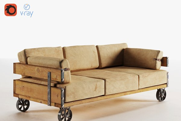 3D Models - Industrial Sofa (v-ray, corona)