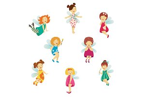 Vector fairy cute girl set, isolated illustration