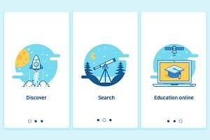 Online education concept in thin flat, linear style.Modern interface UX UI GUI screen template for smart phone or web site banners.