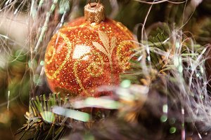 Christmas tree decoration closeup