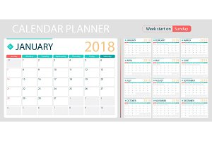 English calendar planner for year 2018, week start Sunday. Set of 12 months, corporate design planner template, size A4 printable calendar templates.