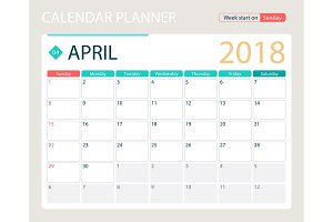 APRIL 2018, illustration vector calendar or desk planner, weeks start on Sunday