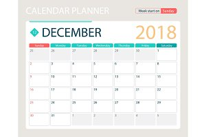 DECEMBER 2018, illustration vector calendar or desk planner, weeks start on Sunday