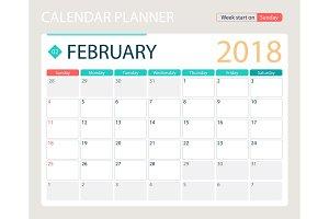 FEBRUARY 2018, illustration vector calendar or desk planner, weeks start on Sunday