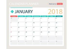 JANUARY 2018, illustration vector calendar or desk planner, weeks start on Sunday