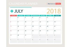 JULY 2018, illustration vector calendar or desk planner, weeks start on Sunday