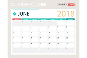 JUNE 2018, illustration vector calendar or desk planner, weeks start on Sunday