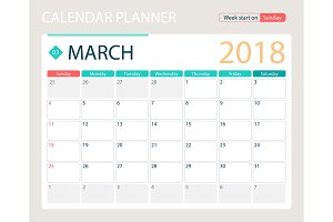 MARCH 2018, illustration vector calendar or desk planner, weeks start on Sunday