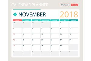 NOVEMBER 2018, illustration vector calendar or desk planner, weeks start on Sunday