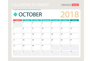 OCTOBER 2018, illustration vector calendar or desk planner, weeks start on Sunday
