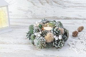 Christmas decorations on rustic