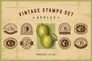 Vintage Apple Stamps Set