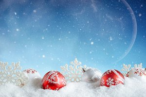 Red and white bubbles in winter set