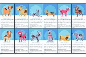 Merry Christmas Festive Posters with Cartoon Dogs