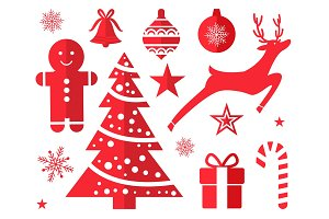 Christmas Symbols and Decorations Drawn in Red