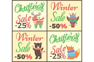 Christmas Sale -25% Collection Vector Illustration