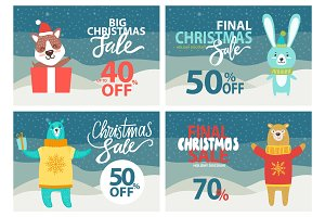 Christmas Sale Up to 40% Off Vector Illustration