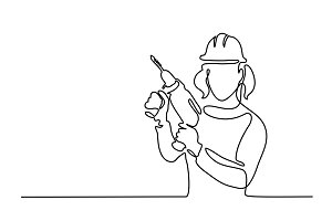Woman holding drill tool