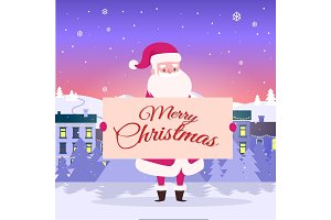 Merry Christmas from Santa on City Background.