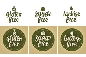 Sign food. Gluten lactose sugar free