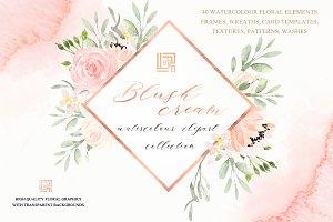 Blush cream. Watercolor flowers