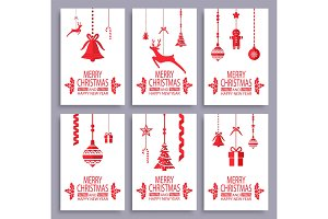 Merry Christmas and Happy New Year Postcards Set