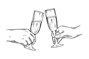 Champagne glasses vector illustration