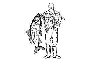 Fisherman with fish vector illustration