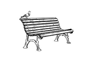 Park bench engraving vector illustration