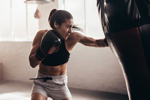 Boxer training inside a boxing ring