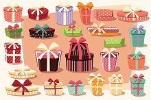 Collection of 24 gift boxes - vector