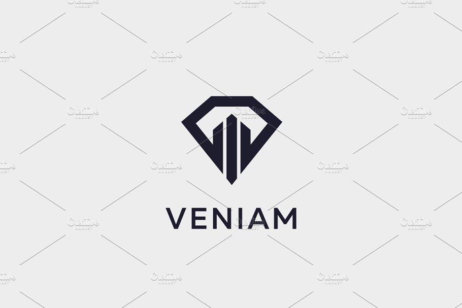 Diamond Real Estate Logo Design Luxury Home Construction Idea Vector Logotype Gem Shield House Premium Symbol