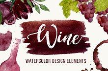 Wine Watercolor Elements + BONUS