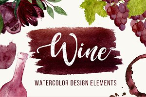 Wine Watercolor Elements+BONUS