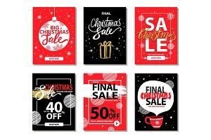 Final Christmas Sale Red Black Vector Illustration