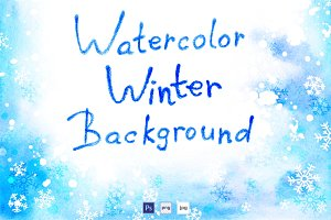 Watercolor winter backgrounds set