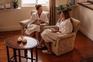 Female friends in spa salon